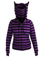 Banned Hoodie Black and Striped Women's Purple