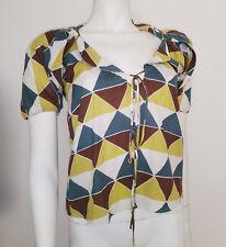 MARNI Blouse in Harlequin Diamond Print Cotton sz 38
