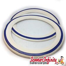 "Whitewall Tyre Inserts Rings 10"" (White / Blue) (Vespa / Lambretta)"