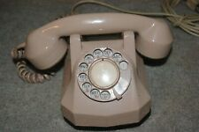 Old Creme Art Deco Hard Plastic Monophone Automatic Electric Cradle Telephone