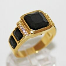 Onyx Saphir schwarz Herren Damen Ring Gold 18 K GF gest. (750) Gr. 65 Ø 20,6 mm