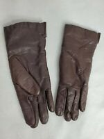 VTG Genuine Leather Womens SZ B 7 1/2-8-8 1/2 Brown Gloves Driving Japan (BY)