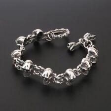 Solid 925 Sterling Silver Mens Heavy Linked Skull Chain Cuff Bracelet 21.5cm