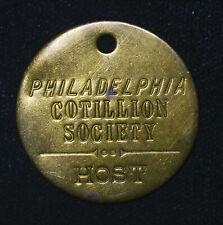 35mm Philadelphia Cotillion Society Host Keychain Fob Vintage brass tag