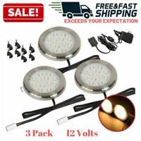 Under Cabinet LED Puck Lights Kitchen Shelf Counter Hardwired Lighting Kit 12V