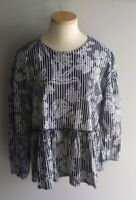 ZARA Trafaluc Ruffle  Oversized Long Sleeves Floral Blouse Shirt Sz M