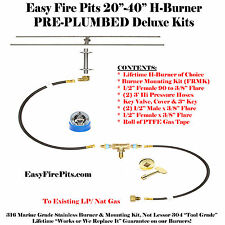 "H20K++ 20"" H-Burner Complete Deluxe Pre Plumbed Gas Fire Pit Kit 316 Stainless"