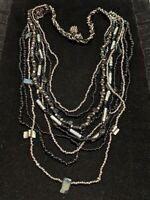 Artisan Black Gray Glass Bead Multi Strand Shell Bib Necklace
