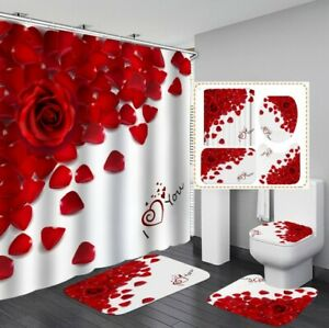 Love Heart Red Rose Shower Curtain Bath Mat Toilet Cover Rug Bathroom Decor Gift