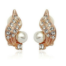Xmas Clip On Cream Ivory Pearl & Rhinestone Crystal Stud Gold Diamante Earrings