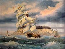 Stretched Quality Oil Painting, Great Britain Armada Near Small Island 36x48in