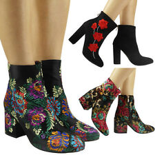 Floral Faux Suede Ankle Boots for Women