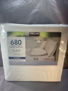 Kirkland Signature 680 Thread 6 Piece Cotton Sheet Set, White, Queen