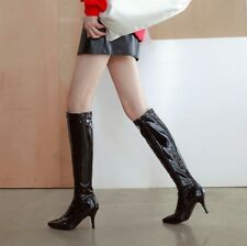 47440eceecc Retro Ladies Zip Buckle Pointed Toe Patent Leather Slim Heels Knee High  Boots