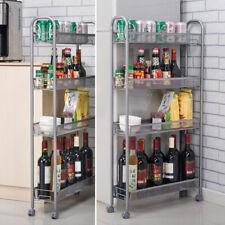 4-Tier Rolling Gap Kitchen Slim Slide Out Storage Tower Rack Shelf Cart Wheels