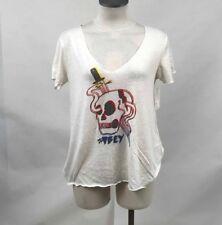 Obey Women's Slub Knit V-Neck Shirt Until the End Natural Size S NWT Skull Snake