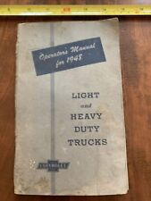 Vintage Operator's Manual For 1948 Chevrolet Light And Heavy Duty Trucks