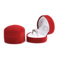 Red Love Heart Velvet Storage Box Engagement Wedding Jewelry Ring Display Case
