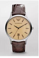 Polierte Emporio Armani Armbanduhren mit Armband aus echtem Leder