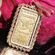 American one gram .999 fine gold bullion bar pendant 14k yellow gold bezel 1.8gr