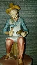 Vintage- Shoe Cobbler Old Man Working on a Shoe- Ceramic Collectible Figurine