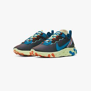 Nike Mens React Element 55 SE Sneakers STARDUST CT1142 700 DOUBLE BOXD Volt/Blue