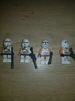 LEGO Star Wars Clone Troopers Minifigures X4 Orange Airborne UTAPAU Genuine)