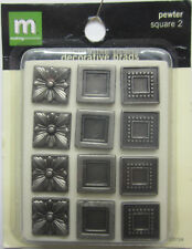 Making Memories 12 Square Pewter Decorative Brads Scrapbooking Embellishments