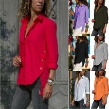 Women V Neck Chiffon Top Shirt Long Sleeve Casual Button Ladies Plus Size Blouse