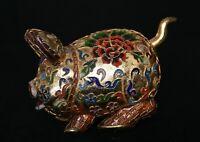 """6,2"""" Ancien Chine Cloisonné Émail Feng Shui Zodiac Animal Porc Richesse Statue"""