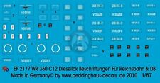 Peddinghaus 1/87 (HO) WR 360 C12 Diesel Locomotive Markings for RB & DB 2177