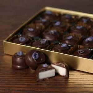 Luxurious Hand Made Dark Chocolate Violet Fondant Creams Gift 24 Chocolates 320g