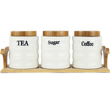 Tea Coffee Sugar Jars Canisters White Ceramic With Bamboo Lids & Tray (Hydria)