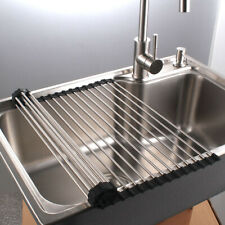 Roll Up Drying Dish Rack Over Sink Stainless Steel Foldable Rubber Coated Black