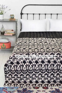 Indian Cotton Ikat Paradise Kantha Bedspread Handmade Quilt Twin Size Blanket