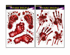 Halloween Window Stickers Decoration Scary Blood Hand Party Bloody Red Decals It Footprints