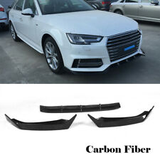Front Chin Lip Spoiler for Audi A4 B9 SLINE S4 Sedan 17-18 3PCS Carbon Fiber