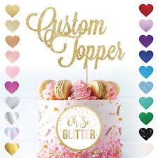 Custom Cake Topper Glitter Any Word Name Personalised Customised Gold birthday