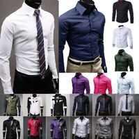 Luxury Shirts Mens Formal Dress Shirt Slim Fit Work Office Business Tops Casual