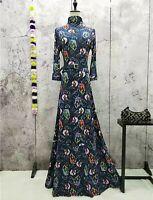 Baroque Vintage design Retro Print Long high-neck dress