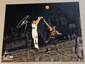 Stephen Curry Autograph vs. LeBron James NBA Finals signed 16x20 photo FANATICS