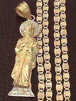 Religious 14k Yellow White Gold St Jude Pendant Charm Valentino Chain Saint God