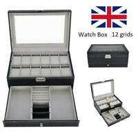 12 Grids Leather Watch Box Case Jewelry Collection Storage Holder Glass Display