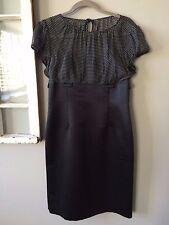 Black w/ Silk Polka Dot Top Cap Sleeve Dress Tahari Size 8