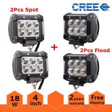 "2x 4"" 18W Flood + 2x 4inch Spot LED Work Light Offroad 4WD Fog ATV SUV For Jeep"