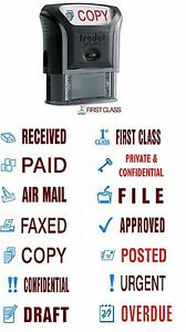 TRODAT OFFICE RUBBER STAMP SELF INKING RECEIVED PAID COPY APPROVED FIRST CLASS