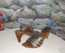 New VIS-A-VIE Silver Leather Gladiator Sandals sz 6