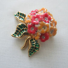 Vintage Joan Rivers Red Green Yellow Enamel Crystal Brooch Pin #27