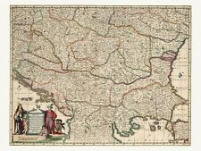 Old Antique Bulgaria Romania Serbia Hungary decorative map de Wit ca. 1682