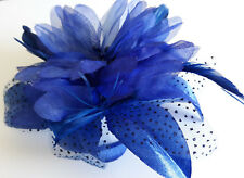 Royal Blue Flower & Feather Fascinator On A Clear Comb.